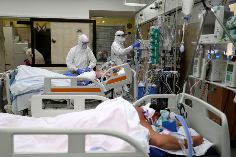 Patients suffering from the coronavirus disease (COVID-19) in Slany Hospital