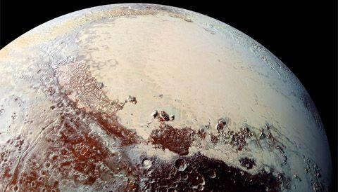 <p>Pluto's stunning Sputnik Planitia, made from nitrogen ice (compared to Earth's water ice glaciers), stretches for about 600 miles along the left lobe of the heart-shaped Tombaugh Regio region. The vast flows of slow-moving ice are also crater-free, meaning they're extremely young. </p>