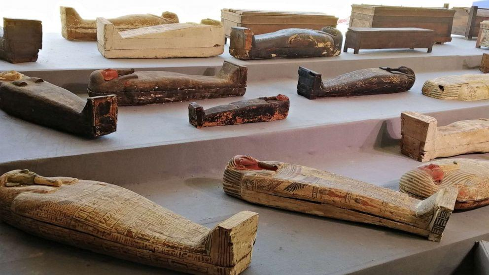 Egypt uncovers more than 100 sarcophagi in ancient burial ground