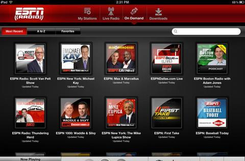 ESPN Radio app gets a refresh, now properly outfitted for the iPad