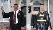 Dad wears hilarious outfits to wave his kid off to school