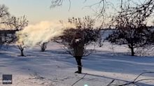 Hot Water Instantly Freezes When Shot Into Frigid Minnesota Air
