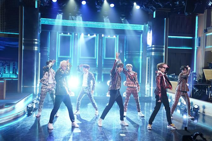"""THE TONIGHT SHOW STARRING JIMMY FALLON -- Episode 0931 -- Pictured: Band BTS performs """"I'm Fine"""" on September 25, 2018 -- (Photo by: Andrew Lipovsky/NBCU Photo Bank/NBCUniversal via Getty Images via Getty Images)"""