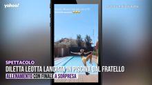 Diletta Leotta lanciata in piscina dal fratello