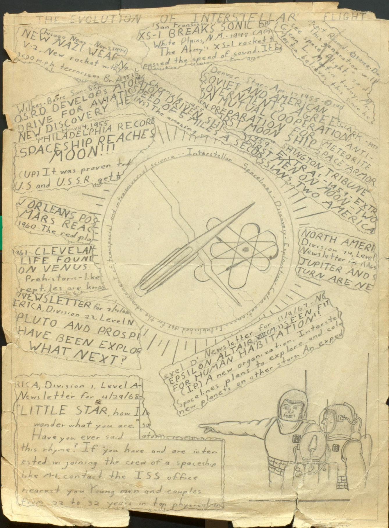"This undated handout photo provided by the Library of Congress shows a drawing of ""The Evolution of Interstellar Flight"" by the young Carl Sagan (c. 10-13 years old). The Library of Congress has acquired the personal papers of the late scientist and astronomer Carl Sagan, thanks to the generosity of a well-heeled admirer: ""Family Guy"" creator Seth MacFarlane. The writer, director and actor is working on a follow-up to Sagan's acclaimed ""Cosmos"" miniseries, which introduced a mass audience to the mysteries of the universe and the origins of life. MacFarlane says he was profoundly influenced by ""Cosmos"" and wants to draw attention to the need for continued exploration of space and study of astronomy. (AP Photo/Library of Congress)"