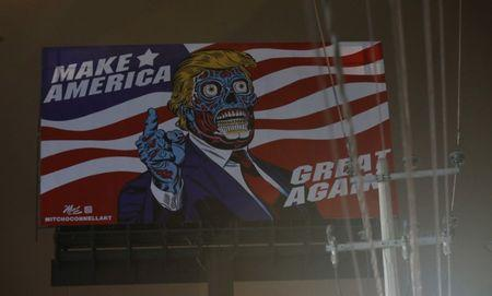 A giant billboard shows a drawing depicting U.S. President Donald Trump, along Periferico avenue in Mexico City, Mexico, July 27, 2017. Picture taken July 27, 2017. REUTERS/Henry Romero