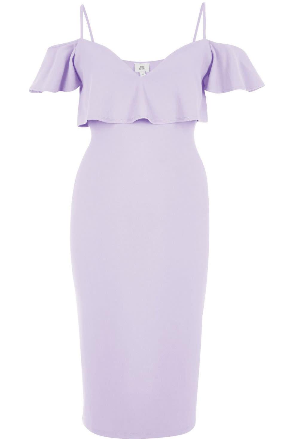 "<p><em>Light Purple Cold Shoulder Bodycon Dress, RIVER ISLAND, $70</em></p><p><a href=""https://us.riverisland.com/women/dresses/bodycon-dresses/light-purple-cold-shoulder-bodycon-dress-703327"" rel=""nofollow noopener"" target=""_blank"" data-ylk=""slk:BUY NOW"" class=""link rapid-noclick-resp"">BUY NOW</a></p>"