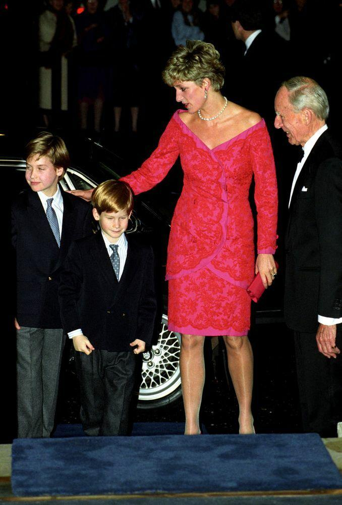 Diana with her sons inDecember 1995.