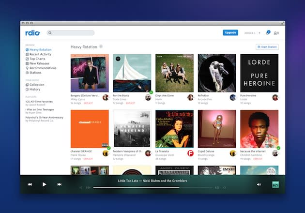 Rdio now lets you listen to tunes for free on the web