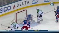 Garbutt sneaks puck under Lundqvist's legs