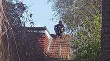 'Who can spot him?' Moped rider caught hiding on roof after crashing into police car in Chadwell Heath