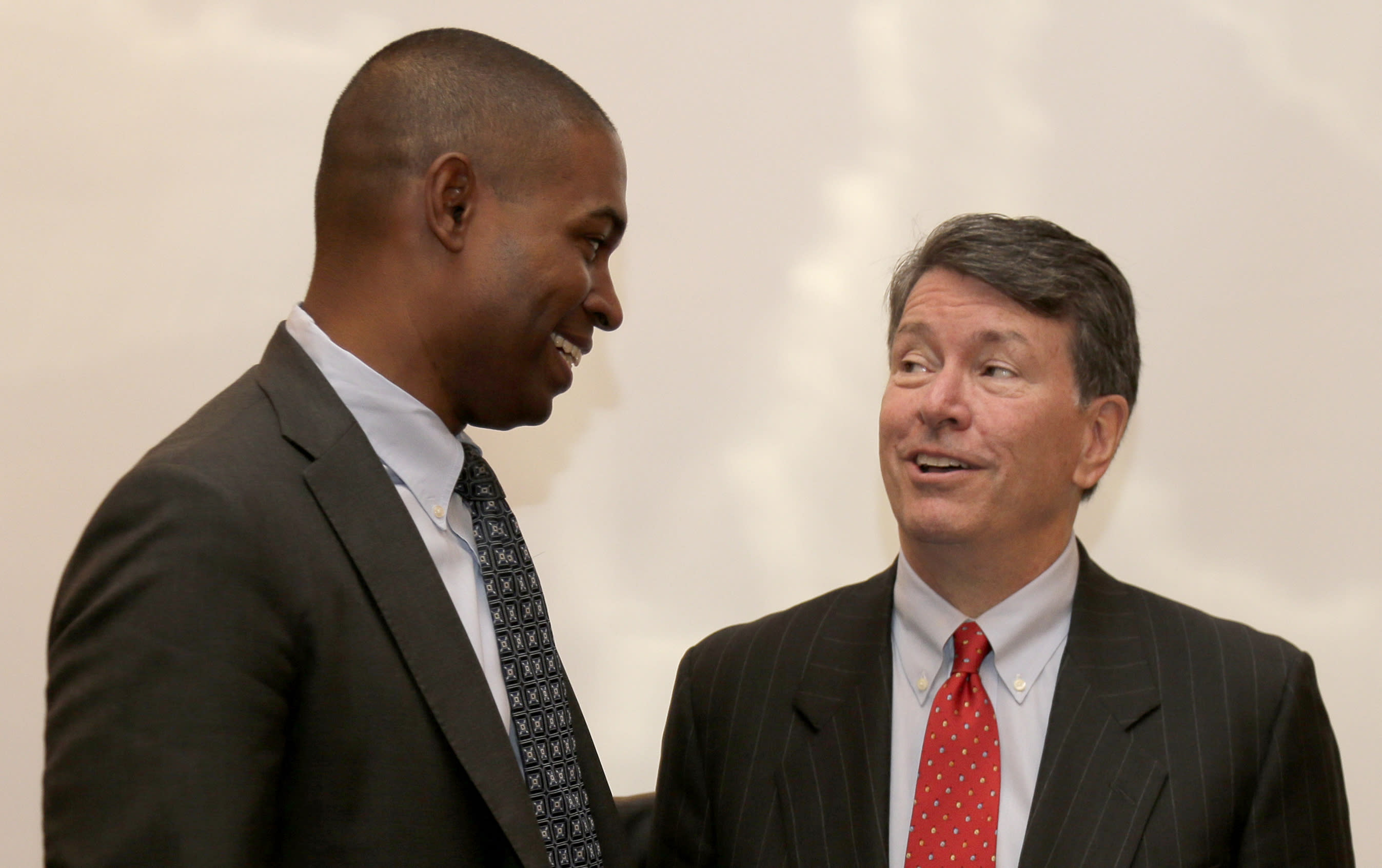 Republican U.S. Rep. John Faso, right, and his Democratic challenger, Antonio Delgado, talk after a candidate forum in Poughkeepsie, N.Y., Wednesday, Oct. 17, 2018. Hip-hop, health care and Brett Kavanaugh have emerged as issues in a too-close-to-call congressional race in New York's Hudson Valley that pits the freshman Republican congressman against a rapper-turned-corporate lawyer seeking his first political office. (AP Photo/Seth Wenig)
