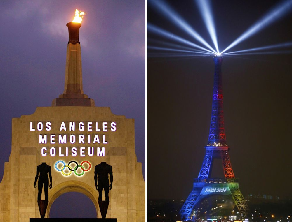 At left is a Feb. 13, 2008, file photo showing the facade of Los Angeles Memorial Coliseum in Los Angeles. At right, in a Feb. 3, 2017, file photo, the Eiffel Tower is lit with colors for Paris 2024 during the launch of the international campaign of Paris as candidate for the 2024 Olympic summer games in Paris. The IOC has formally proposed picking the 2024 and 2028 Olympic host cities at the same time this year. Los Angeles and Paris now seem certain to both be awarded a Summer Games in September 2017 as the IOC tries to safeguard its signature event for the next decade.