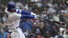Cubs batter's bat flip backfires, nearly takes out catcher and umpire