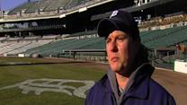 Detroit Tigers head groundskeeper Heather Nabozny explains her work at Comerica Park