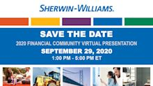 Sherwin-Williams Reschedules 2020 Financial Community Presentation to September 29, 2020