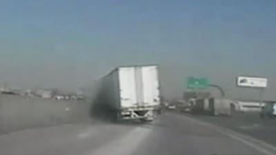 State trooper survives near-miss with semi