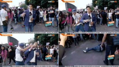 VIDEO | CDMX: Agreden a reportero en marcha