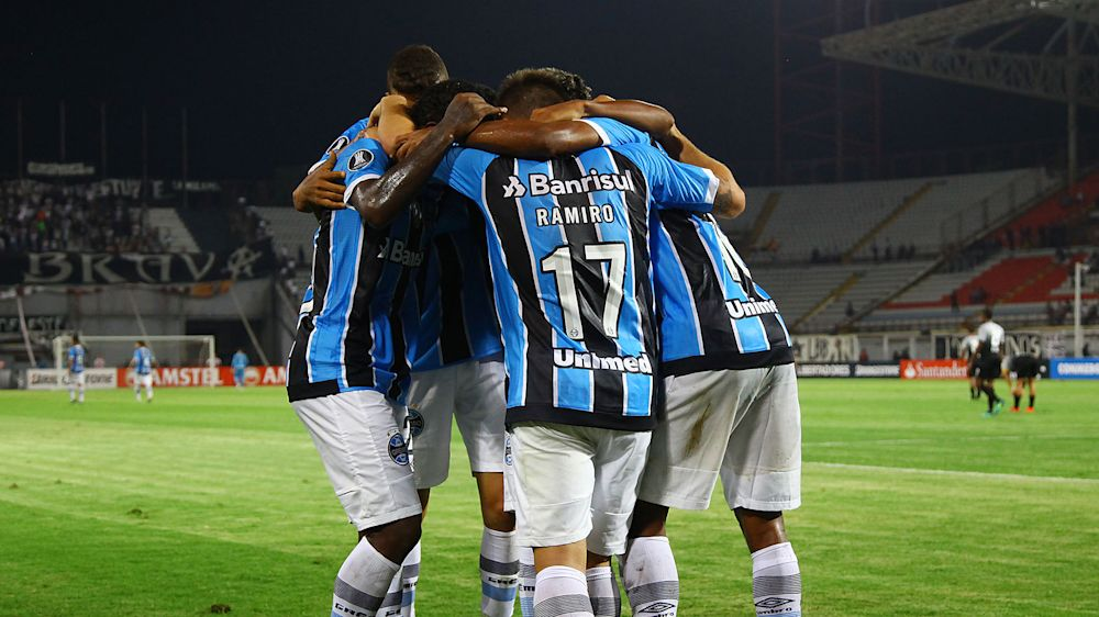 Cachorro invade o campo no jogo Grêmio x Zamora