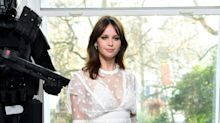 Felicity Jones makes her sartorial status known on 'Rogue One' promo tour