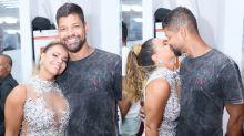 Viviane Araújo leva namorado a ensaio do Salgueiro