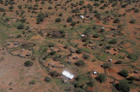 Aerial view of the Millennium Village project in Dertu, a remote pastoral and nomadic society in northern Kenya