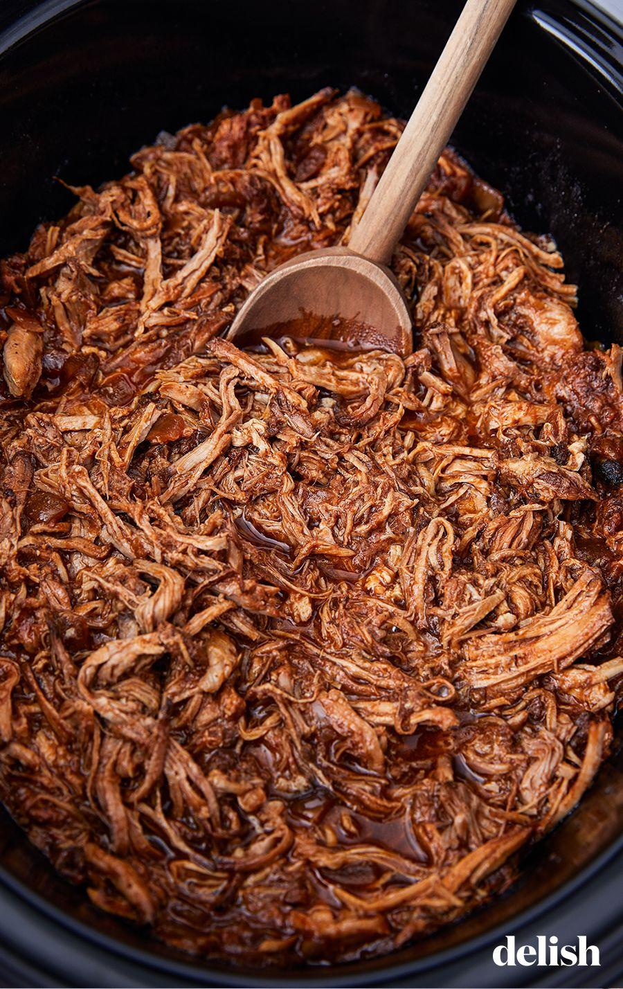 """<p>Fall-apart tender and totally irresistible.</p><p>Get the recipe from <a href=""""/cooking/recipe-ideas/recipes/a51267/slow-cooker-pulled-pork-recipe/"""" data-ylk=""""slk:Delish"""" class=""""link rapid-noclick-resp"""">Delish</a>.</p>"""