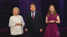 Hillary Clinton hijacks 'Late Late Show' monologue to roast Trump