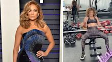 J.Lo Rocks a Chic Matching Camo Set and Her Natural Curls for a Workout with A-Rod