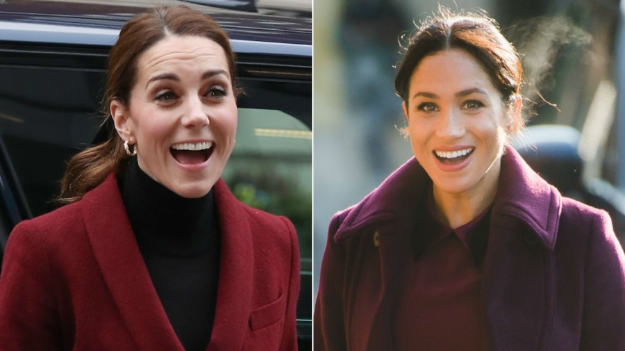 Kate Middleton and Meghan Markle Both Wear Burgundy Looks on the Same Day