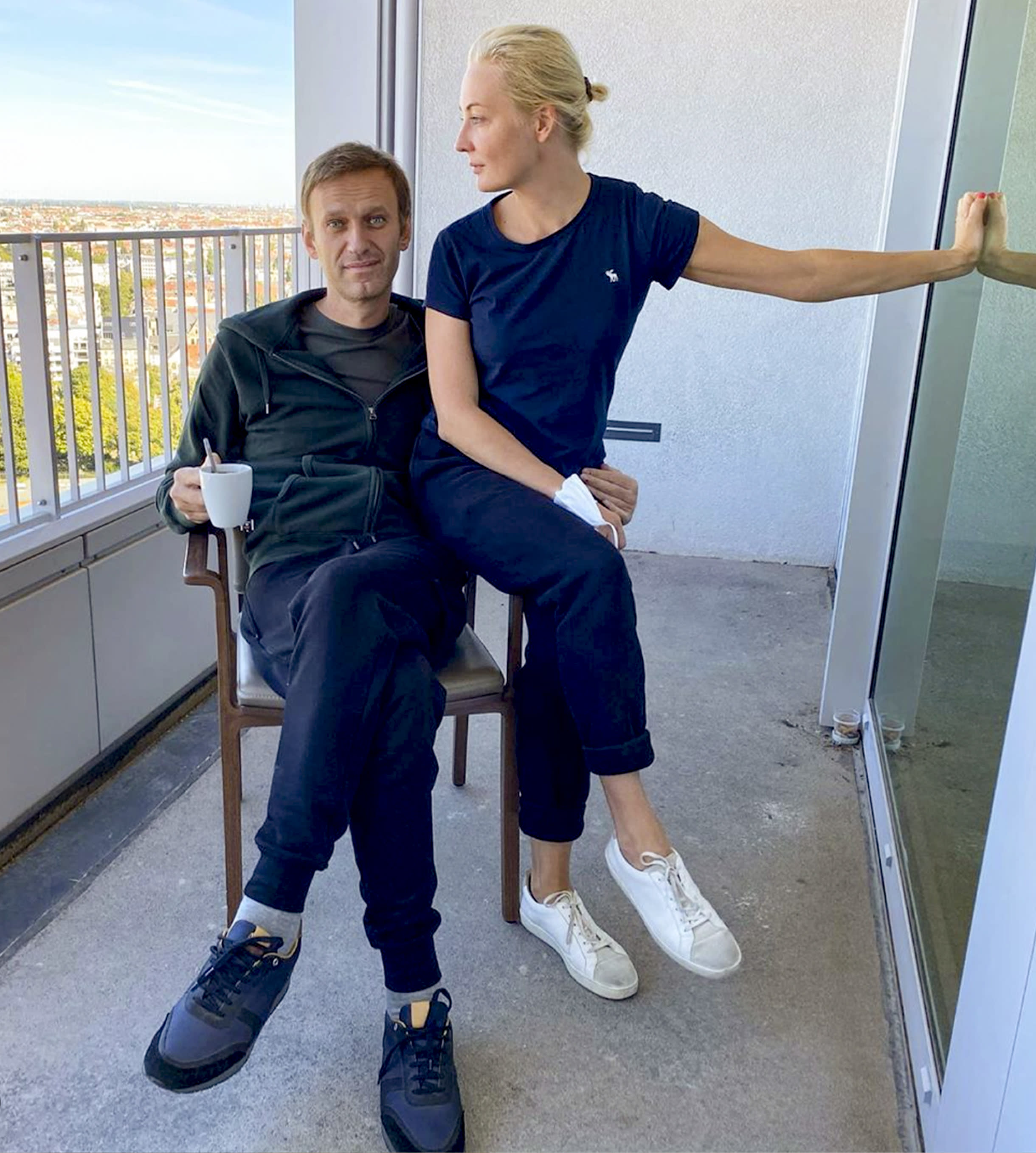 """In this photo published by Russian opposition leader Alexei Navalny on his Instagram account on Monday, Sept. 21, 2020, Russian opposition leader Alexei Navalny and his wife Yulia pose for a photo in a hospital in Berlin. Navalny on Monday demanded that Russia returned clothes he was wearing on the day he fell into a coma, calling it a """"crucial piece of evidence"""" of a suspected nerve agent poisoning he is being treated for at the German hospital. (Navalny Instagram via AP)"""