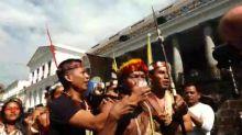 Indígenas waorani protestan en Quito en defensa de fallo que veta ingreso de petroleras