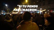 À la retraite aux flambeaux, des chants évoquent la décapitation de Macron