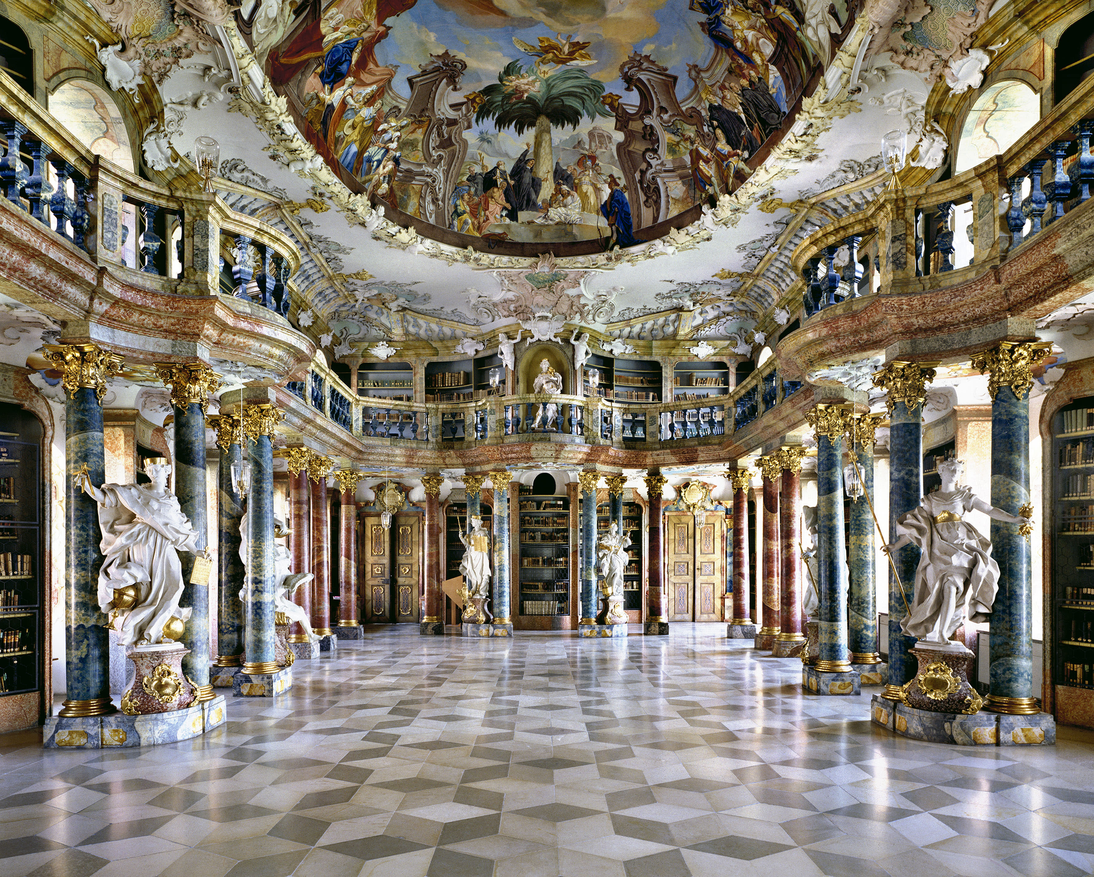 <p>Wiblingen Abbey Library, Germany. (Photo: Massimo Listri/Caters News) </p>