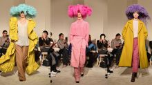 Valentino sent feathered hats down the catwalk