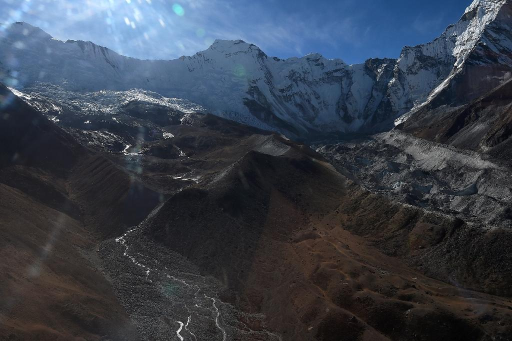 A glacier in the Everest region of Nepal pictured in November 2018 -- climate change is eating the Himalayas' glaciers, threatening water supplies for hundreds of millions of people downstream across South Asia (AFP Photo/Prakash MATHEMA)