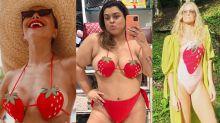 Biquíni de morango das famosas custa mais de R$ 1,2 mil