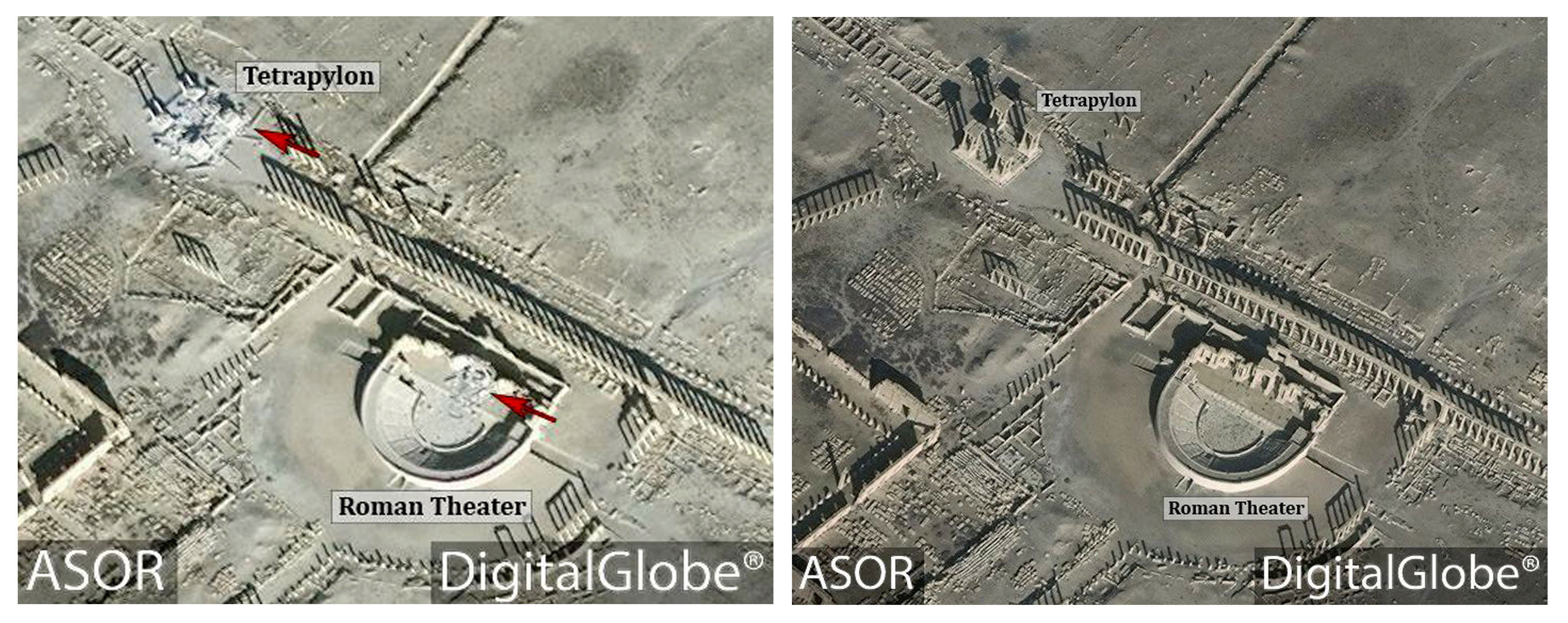 This combination of satellite images released by the American Schools of Oriental Research (ASOR) on Friday, Jan. 20, 2017 as captured by DigitalGlobe shows the Roman theater at the UNESCO World Heritage Site of Palmyra, Syria on Jan. 10, 2017 with new damages indicated in red, left, and the site on Dec. 26, 2016, right. Islamic State group militants destroyed a landmark ancient Roman monument and parts of the theater in Syria's historic town of Palmyra, the government and opposition monitoring groups said Friday. (ASOR/ DigitalGlobe via AP)