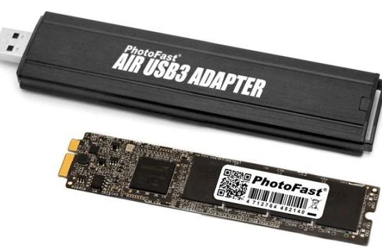 MacBook Air upgrade kit bumps capacity to 256GB, turns old module into USB 3.0 SSD