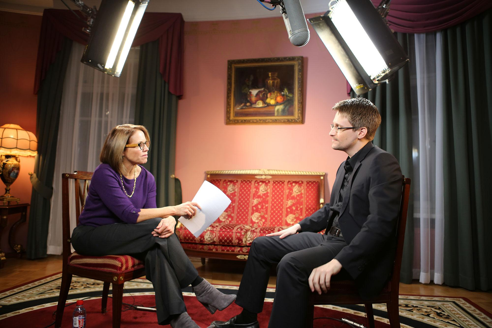 <p>Yahoo Global News Anchor Katie Couric interviews Edward Snowden in Moscow on December 3, 2016. (Photo: Brad Williams/Yahoo News) </p>