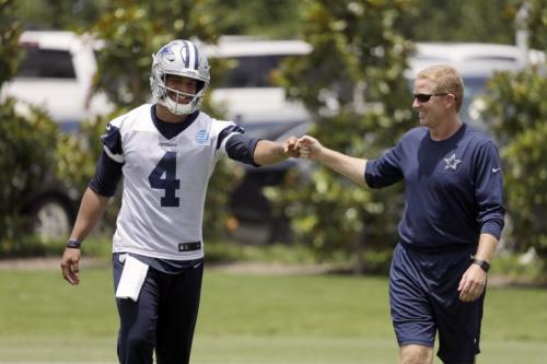 Dak Prescott and head coach Jason Garrett appear to be on good terms at minicamp this week. (AP)