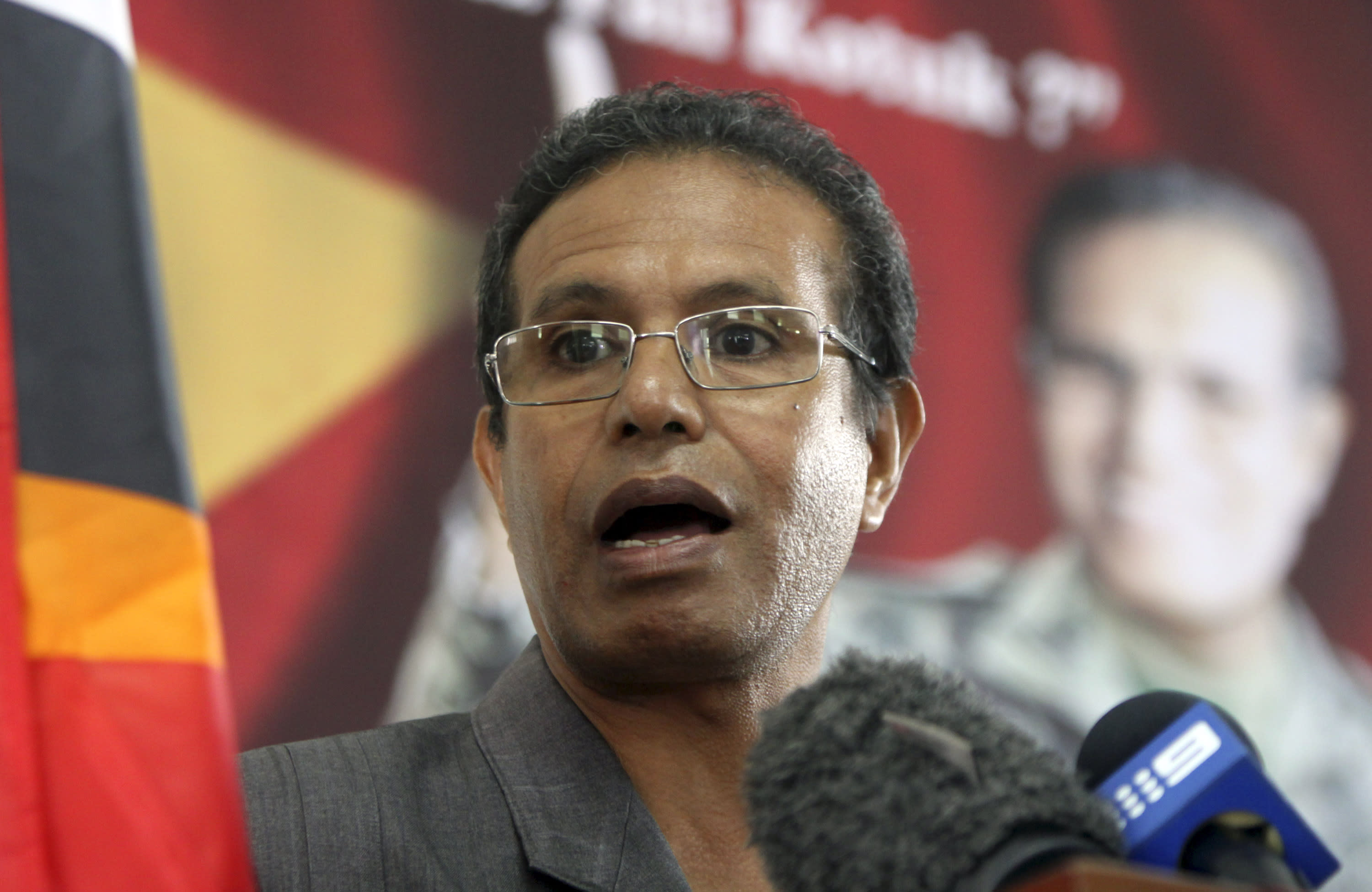 Former military chief and presidential candidate Taur Matan Ruak talks to media during a press conference in Dili, East Timor Sunday, March 18, 2012. East Timor voted for a new president Saturday in an election that tested the young nation's political stability ahead of the planned departure of U.N. troops later this year. Preliminary results indicated that no one would secure the 51 percent majority needed to win. Results from all 13 districts were expected to be announced Sunday. (AP Photo/Firdia Lisnawati)