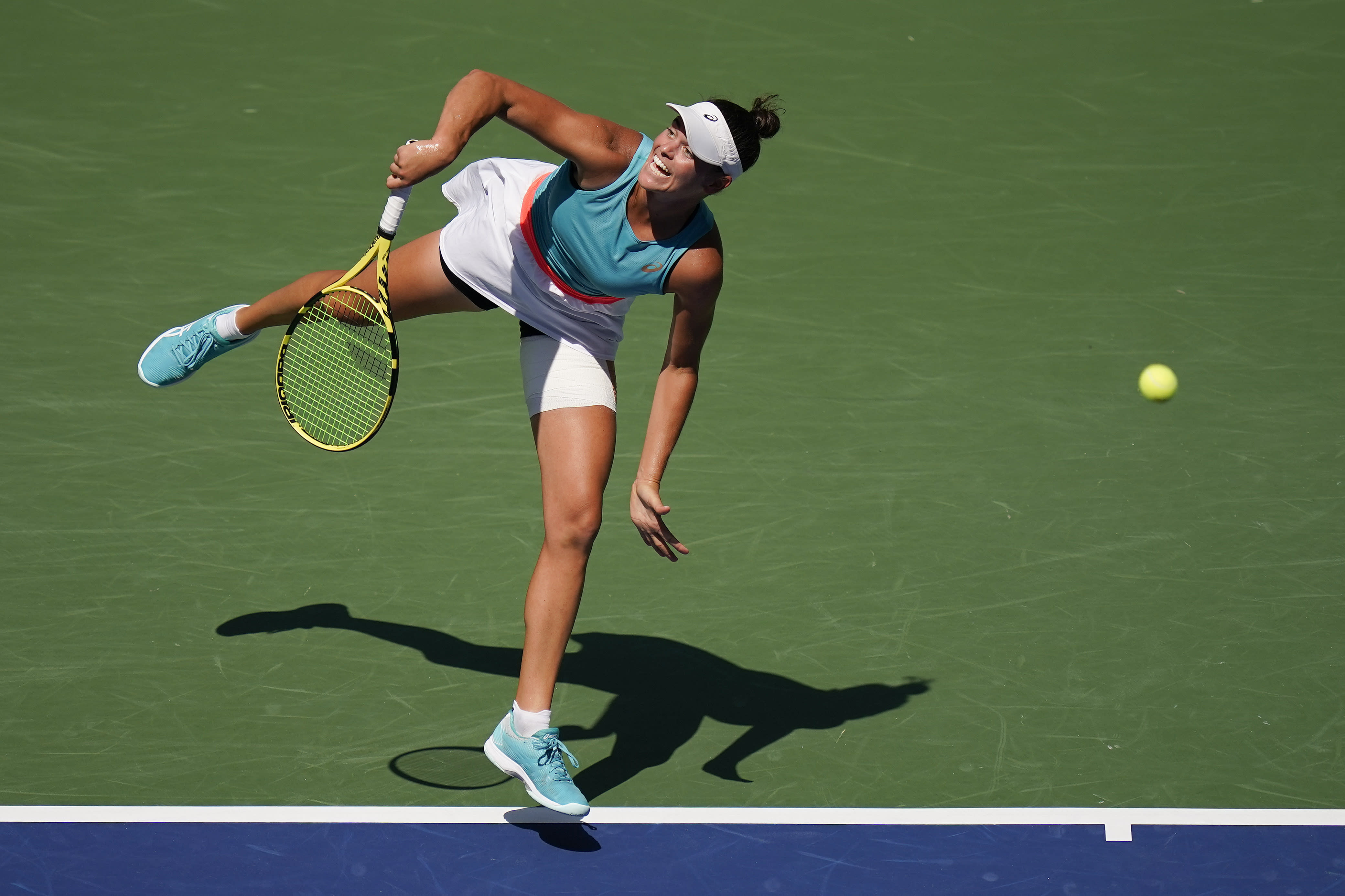 Jennifer Brady, of the United States, serves to Yulia Putintseva, of Kazakhstan, during the quarterfinals of the US Open tennis championships, Tuesday, Sept. 8, 2020, in New York. (AP Photo/Seth Wenig)