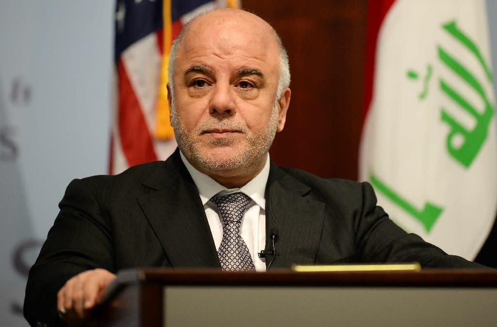 Iraqi Prime Minister Haider al-Abadi speaks in Washington, DC, April 16, 2015 (AFP Photo/Jim Watson)