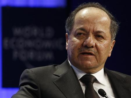 Barzani, President of the Kurdistan Region in Iraq, attends a session at the annual meeting of the World Economic Forum (WEF) in Davos