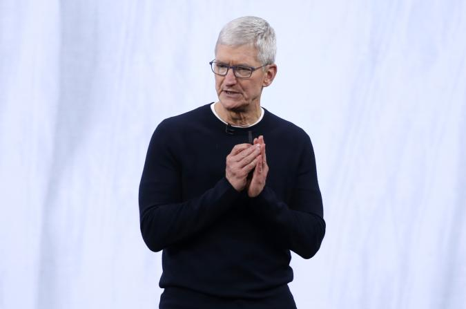 CEO Tim Cook speaks at an Apple event at their headquarters in Cupertino, California, U.S. September 10, 2019. REUTERS/Stephen Lam