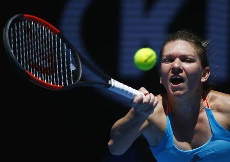 Tennis - Australian Open - Melbourne Park, Melbourne, Australia - 16/1/17 Romania's Simona Halep hits a shot during her Women's singles first round match against Shelby Rogers of the U.S. .REUTERS/Thomas Peter
