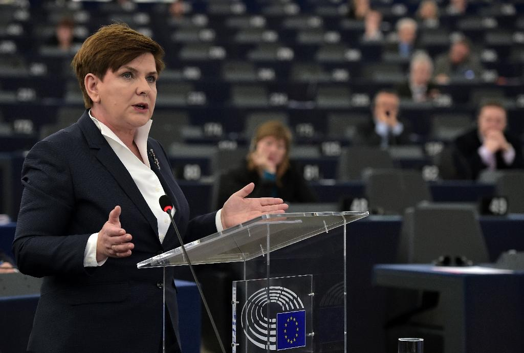 Polish Prime Minister Beata Szydlo delivers a speech during a debate at the European Parliament, in Strasbourg on January 19, 2016
