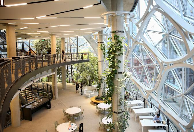 The second and third floors of the new Amazon Spheres are seen during a grand opening event at Amazon's Seattle headquarters in Seattle, Washington, U.S., January 29, 2018.    REUTERS/Lindsey Wasson