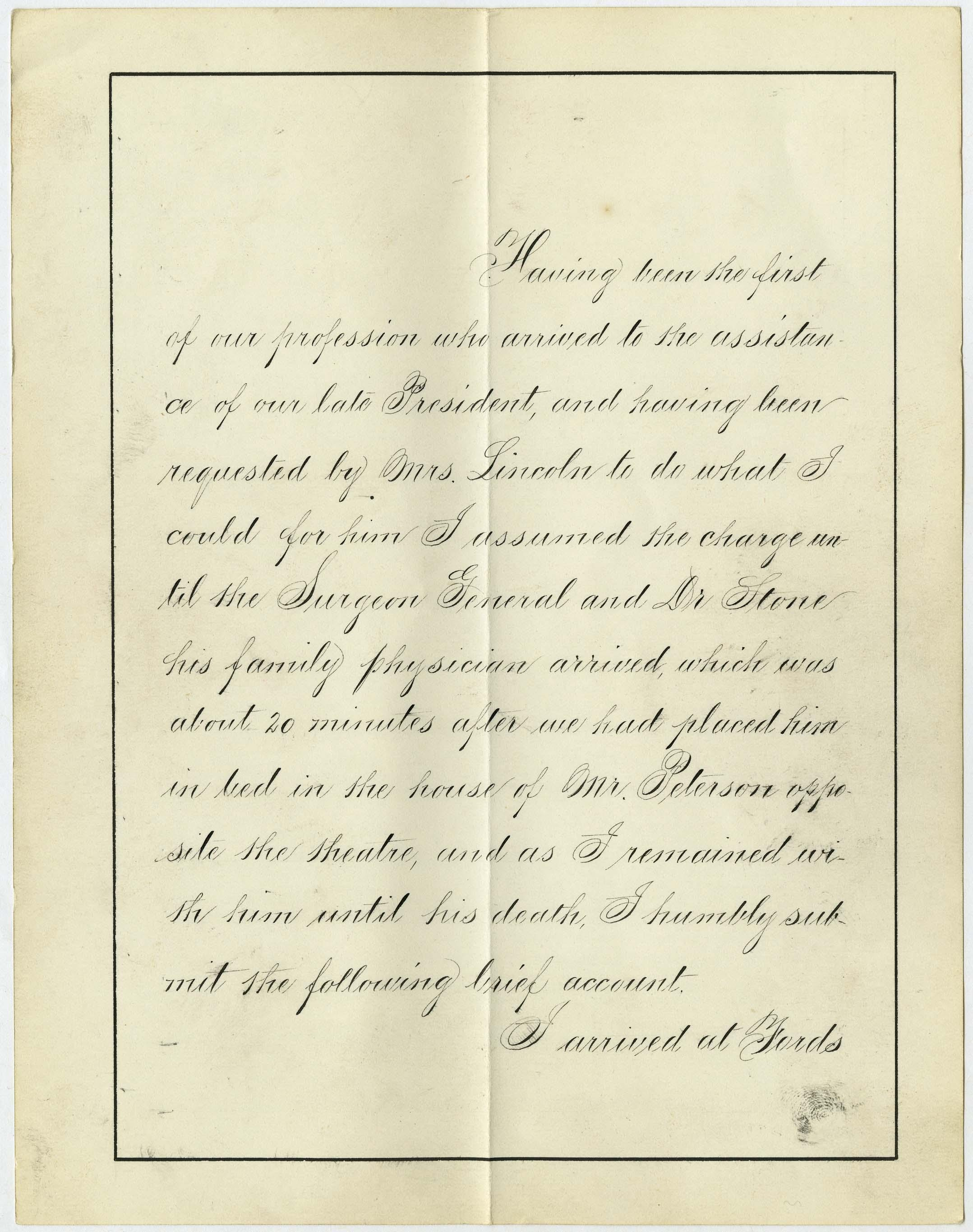 """This undated photo of a document from the National Archives provided June 5, 2012 by the Abraham Lincoln Presidential Library & Museum in Springfield, Ill., shows the first page of an original copy of a 21-page clinical report by Dr. Charles A. Leale, who was the first doctor to treat President Abraham Lincoln after he was shot at a Washington theater on the night of April 14, 1865. The report is not in Leale's hand, but is a """"true copy"""" written in the neat and legible hand of a clerk. It was found by a researcher for the Papers of Abraham Lincoln Project, which is dedicated to finding and saving all documents written by or about the 16th president during his lifetime. (AP Photo/Photo of a National Archives document via the Abraham Lincoln Presidential Library & Museum)"""